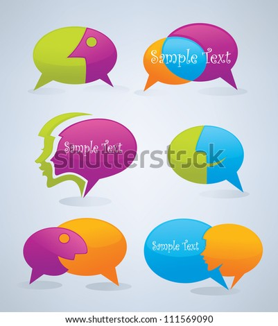vector speech bubbles look like a head and face - stock vector