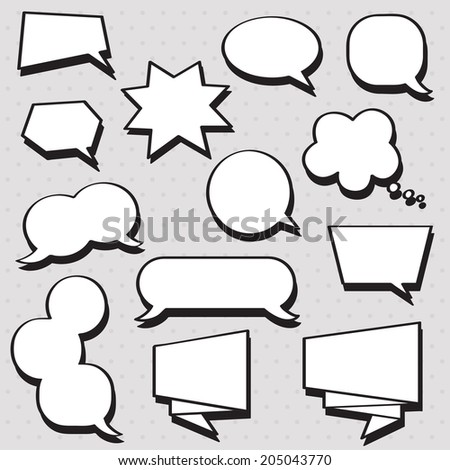 Vector speech bubbles set in black and white colors with shadows on the grey background with dots. Perfect for comics pictures!