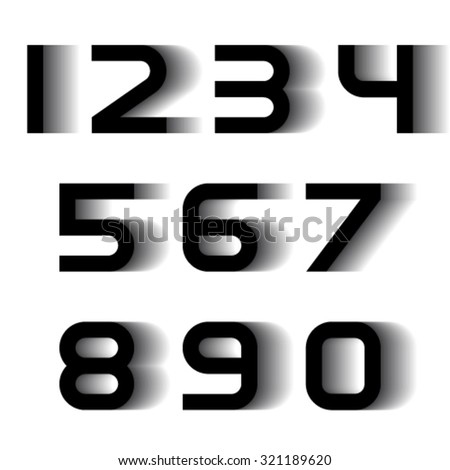 vector speed motion blur font numbers - stock vector