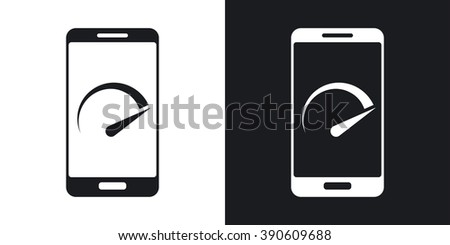 Vector speed test smartphone icon. Two-tone version on black and white background - stock vector