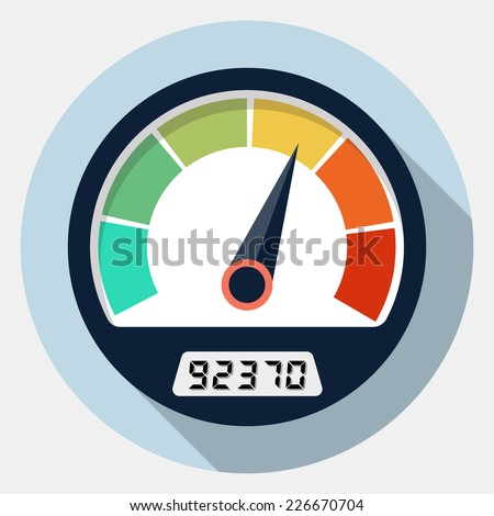 Vector speedometer icon - stock vector