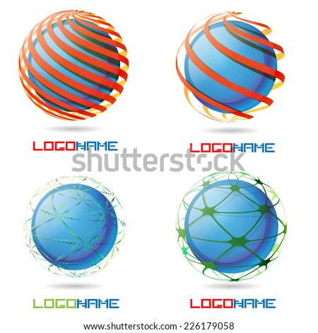Vector Sphere Abstract Logo Design Template Collection . Business Technology Circle Icon . New Ecology Creative Idea .