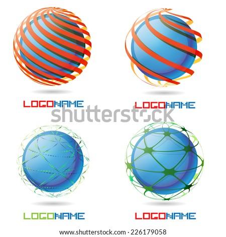 Vector Sphere Abstract Logo Design Template Collection . Business Technology Circle Icon . New Ecology Creative Idea . - stock vector