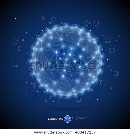 Vector sphere. Futuristic technology wireframe mesh polygonal abstract element. Geometric Modern Technology Concept