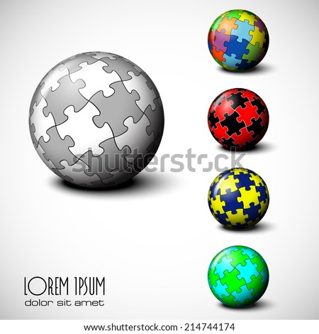 Vector Sphere of Puzzle eps 10 - stock vector
