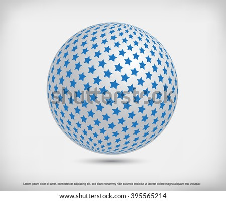Vector sphere.Sphere with stars.Abstract logo design.