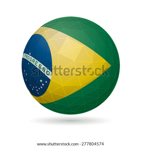 Vector sphere with flag of Brazil. - stock vector