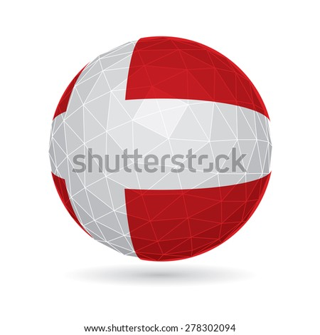Vector sphere with flag of Denmark. - stock vector