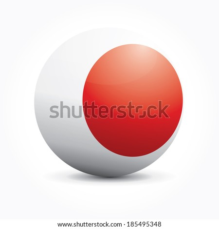 Vector sphere with Japanese flag. - stock vector
