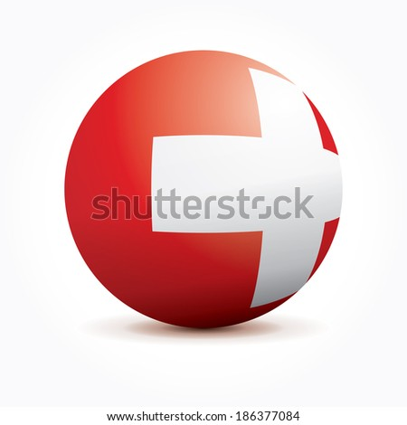 Vector sphere with Swiss flag. - stock vector