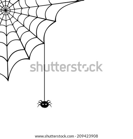 Vector spider web and small spider on a white background. - stock vector
