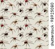 Vector spiders seamless pattern - stock vector