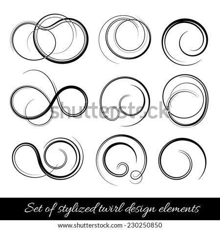 Vector spirals design elements set - stock vector
