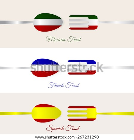 Vector spoon and fork in flag for national mexican, spanish and french dishes. Can be used for promos, menus, cards. EPS10. - stock vector