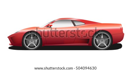 Vector sport car. Sport automobile flat icon. Red modern auto. Speed symbol. Flat design. Illustration isolated on white background