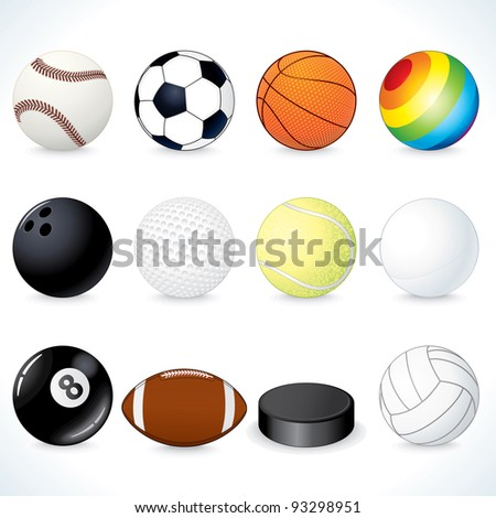 Vector Sport Clip Art. Soccer, Rugby, Tennis, Volleyball, Basketball Balls and other Equipment - stock vector