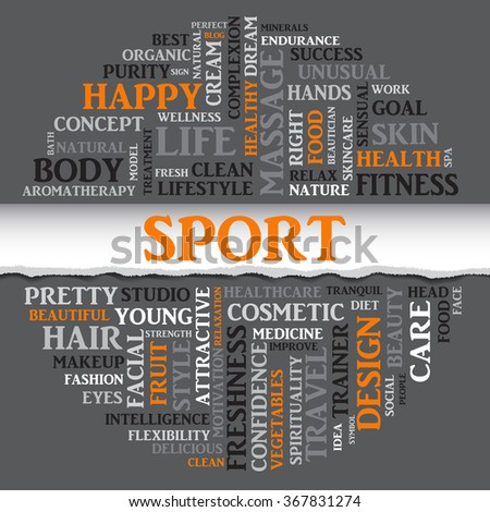 Vector SPORT concept related words in tag round cloud isolated on gray with different association sport and fitness terms. The effect of torn paper  - stock vector