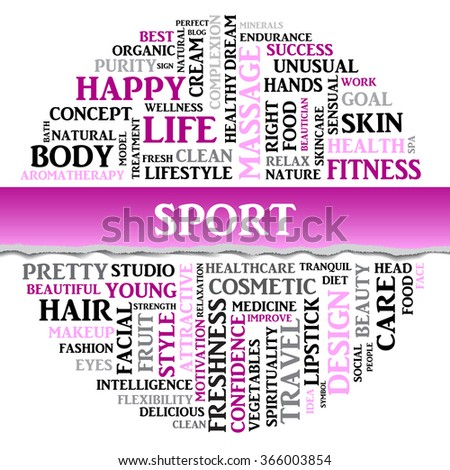 Vector SPORT concept related words in tag round cloud isolated on white with different association sport and fitness terms. The effect of torn paper - stock vector