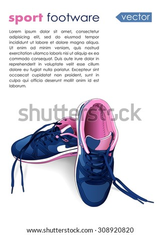 vector sport footware isolated on white background with place for text. EPS - stock vector
