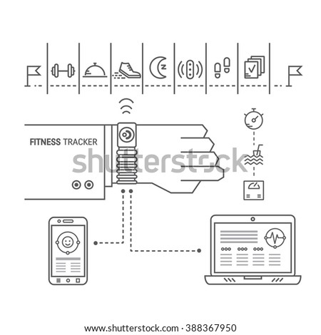 Vector sport illustration. Fitness tracker on the wrist  for monitoring sport activity, burning of calories, sleep, ingestion, distance, steps, heartbeat. Data exchange with computer and smartphone. - stock vector