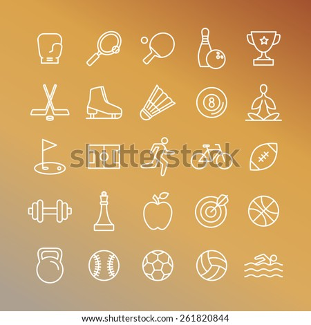 Vector sport linear icons - set of signs and symbols related to team games and healthy lifestyle - stock vector