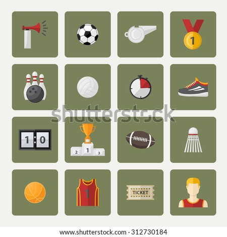 Vector sports icon,sign,symbol,pictogram set,collection in flat style , with sport horn,soccer ball,cup,scoreboard,whistle,badge,sneakers,athletic form,ticket.Different sports equipment.Sports games