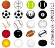 Vector Sports Set : Different kinds of Balls in color and silhouette - stock vector