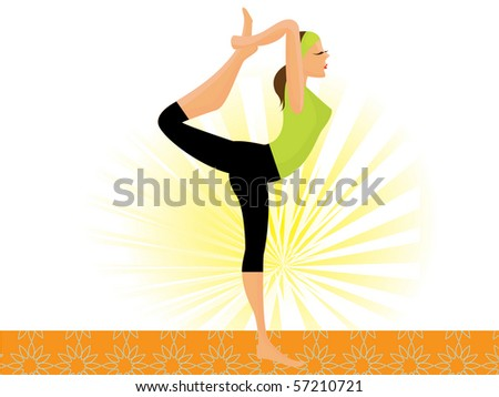 vector sporty girl practicing natarajasana lord of the dance pose - stock vector