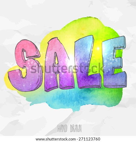 Vector spot watercolor background with hand drawn sketch style lettering sale. Doodle discount illustration