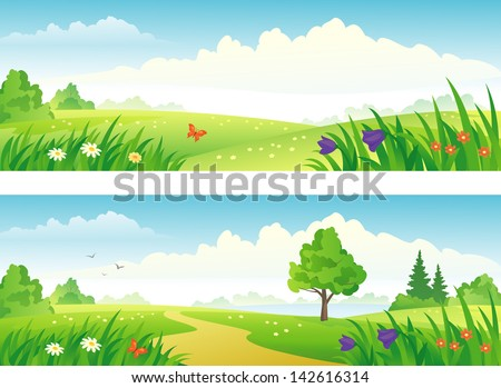 Vector spring and summer landscapes banners - stock vector