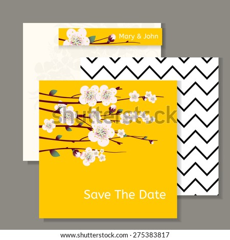 Vector spring  apricot blossoming branch on bright yellow background. Wedding invitation and happy easter card template