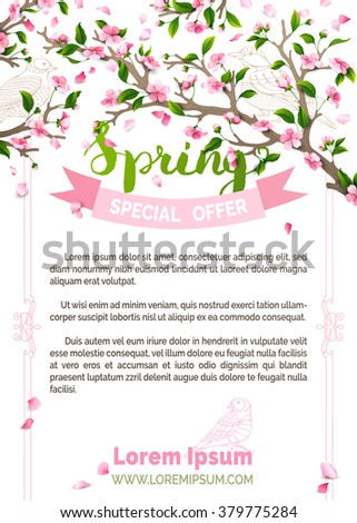Vector spring background. Pink blossoms and bird contours on tree branches. Falling petals. Hand-written brush lettering. There is place for your text. - stock vector