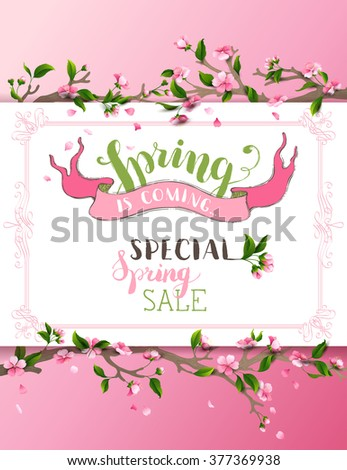 Vector spring background. Pink cherry blossoms on tree branches. Calligraphic frame. Hand-written brush lettering. There is place for your text on white paper. - stock vector