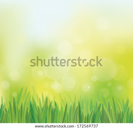 Vector spring background with grass.