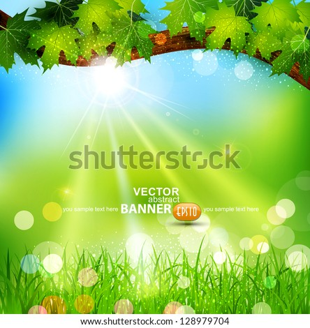 Vector spring background with trees and grass - stock vector