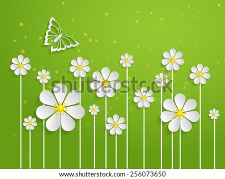 Vector spring background with volumetric flowers. Paper cut flowers on green background. With butterfly. - stock vector