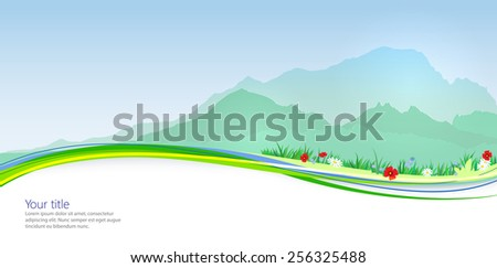 Vector Spring banner with Mont Blanc silhouette - stock vector
