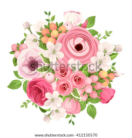 Vector spring bouquet of red and pink roses, lisianthuses, ranunculus and apple flowers on a white background.