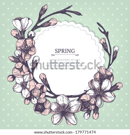Vector spring card or invitation design  with hand drawn blooming fruit tree twig illustration on mint background - stock vector