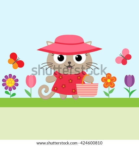 Vector spring flower background with funny kitty and flowers - stock vector