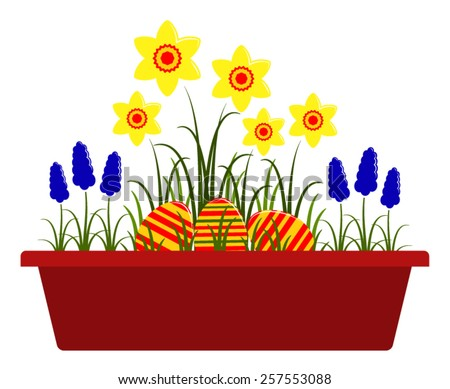 vector spring flowers and easter eggs in planter isolated on white background