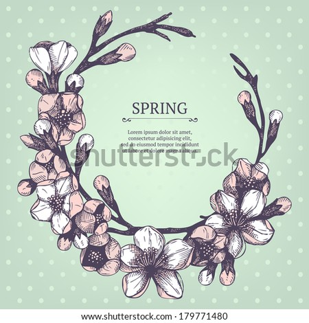 Vector spring frame for your card or invitation with hand drawn blooming fruit tree twig illustration on mint background - stock vector