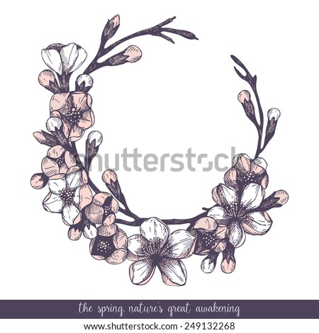 Vector spring frame for your card or invitation with ink hand drawn blooming fruit tree twig illustration isolated on white. - stock vector