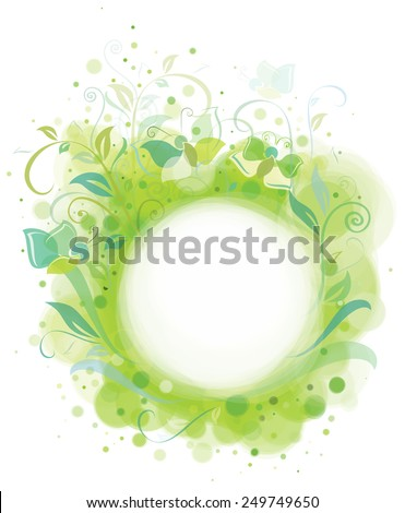 Vector spring frame, plants and butterflies. - stock vector