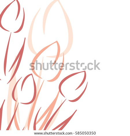 Vector Spring Greeting Card Template Tulips Stock Vector 585050350