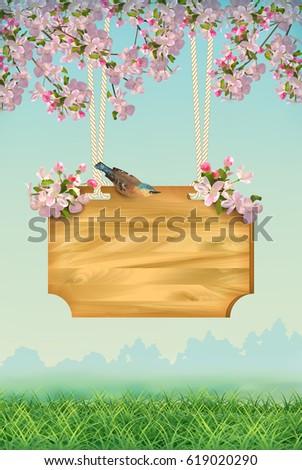 Vector Spring Landscape Signboard Bird Grass Stock Vector 619020290 ...