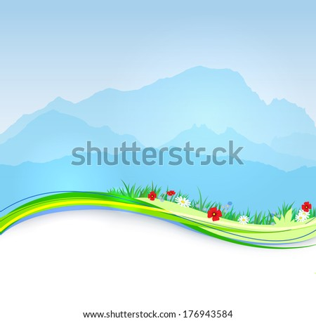Vector  spring Mont Blanc background with paper shadow effect - stock vector