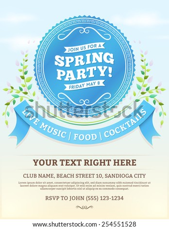 Vector spring party invitation with blue ribbons and summer leaves on a bright blue sky. Copy space at the bottom. - stock vector
