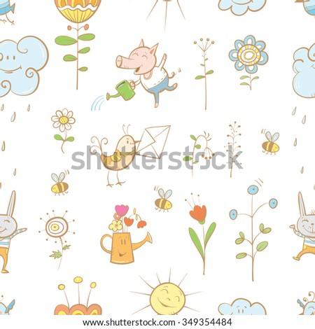 Vector spring seamless pattern with animals and plants on  blue background. - stock vector