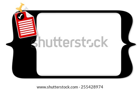 vector square brackets for entering text and document icon and check box - stock vector